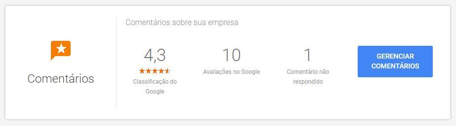 exemplo de relatório com a quantidade de classificações, avaliações e resposta aos comentários de uma ficha de Google Meu Negócio