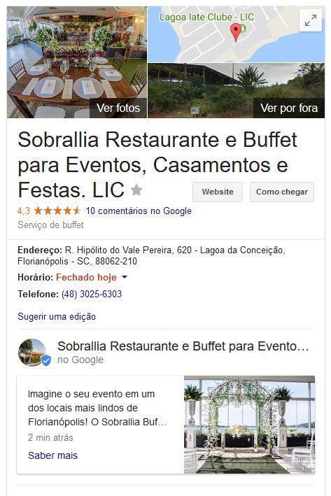 exemplo de publicação no Google Meu Negócio para o nosso cliente Sobrallia Buffet e Eventos [ www.sobrallia.com.br