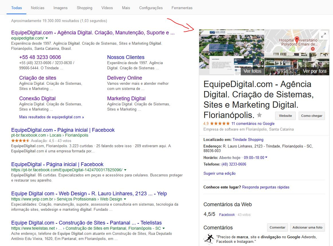 Exemplo de ficha do Google Meu Negócio da EquipeDigital.com Sistemas, Sites e Marketing Digital Florianópolis